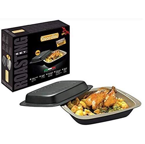 Guardini Coffret Cadeau Roasting Set : 2 plats à four rectangulaires + 1 grille, acier avec revêtement anti-adhérent, couleur noire/crème