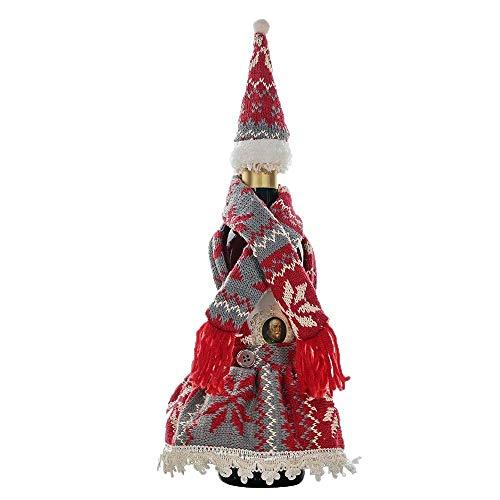 NLRHH Weihnachtsgestrickte Schal mit Hutrock Flaschen Set Urlaub an Lieferungen auf der DIY (Farbe: rot) Peng (Color : Red)