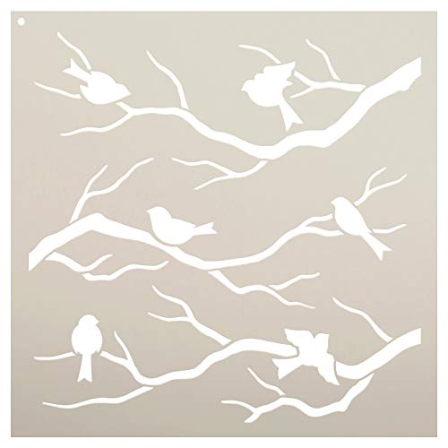 Birds Tree Branches Stencil by StudioR12   Reusable Mylar Template   Paint DIY Nature Home Decor Wood Signs - Furniture - Pillows - Scrapbook - Cards - Nursery   Craft Wall Art   Choose Size (9