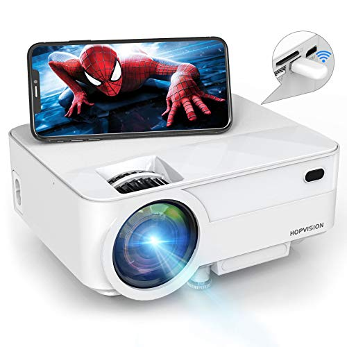 HOPVISION Mini Proyector 1080P Full HD,Proyector Portátil de 5000 Lúmenes con Pantalla Máx de 180',Proyector LED de 60000 Horas,Proyector Cine en Casa Compatible con HDMI/AV/USB/SD/VGA
