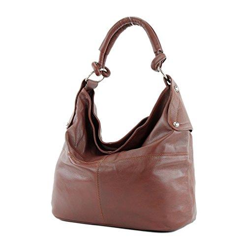 modamoda de - DS26 - ital Damenhandtasche aus Nappaleder, Farbe:T61 Kastanienbraun