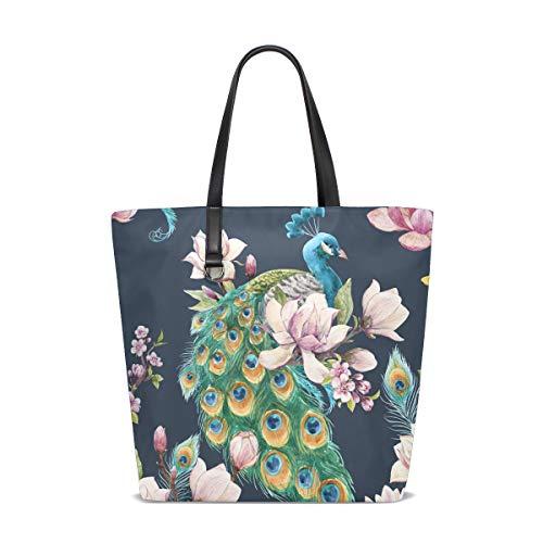 BKEOY Große Damen-Handtasche Schultertasche Frühling Sakuras Floral Pfau Tote Shopper Organizer Taschen