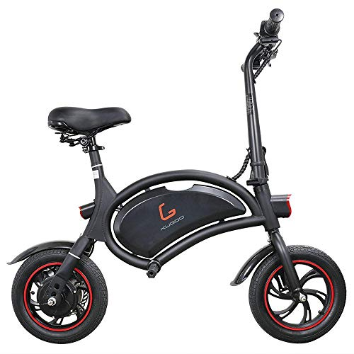 INYIJIA Kugoo Kirin B1 - Bicicleta eléctrica plegable 250 W, motor sin escobillas, velocidad máxima de 25 km/h, batería de litio 6 Ah, freno de disco, neumáticos neumáticos de 12 pulgadas -color negro
