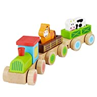 Children's Wooden Farm Train Toy: Stacking Train with Animals, Horse and Cow Transporter – Brightly ...