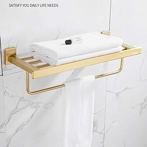 GLEYDY Montado En La Pared Toalleros Repisa para Baño, Soportes para Paños De Cocina, Espacio Engrosado De Aluminio, Tratamiento De Oro Cepillado,A