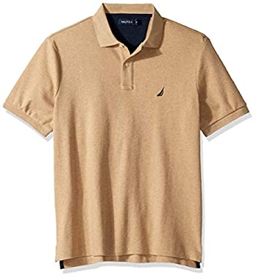 Nautica Men's Classic Fit Short Sleeve Solid Soft Cotton Polo Shirt, Coastal Camel Heather, X-Large from Nautica