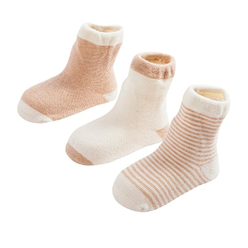 DEBAIJIA 3 Pares de Calcetines Bebé Algodón orgánico Recién Nacidos 0-6 Meses Primavera Otoño Para Niños Niñas Rayas