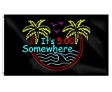 EZ Tuxedo It's 5 O'Clock Somewhere Funny Party Flag with 2 Brass Grommets,Holiday Banner Polyester Vivid Color and UV Fade Resistant Décor 3X5 Ft
