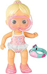 Mimi includes: 1x Mimi, 1x Rubber Ring, 1 x snorkel and 1x diving fins. Mimi loves to swim! Place her in the water to see her arms move Mimi squirts water out of her mouth and snorkel Bloopies make bath time fun!