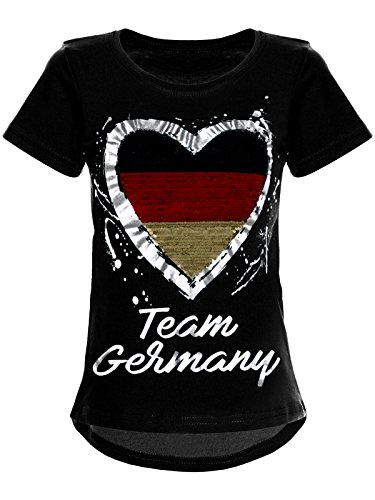 BEZLIT Deutschland Mädchen Wende-Pailletten WM 2018 Fan Fussball T Shirt 22512 Schwarz Größe 116