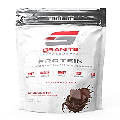 Protein Powder by Granite | 30 Servings of Complete Spectrum Protein to Build Lean Muscle | Includes 5 Protein Sources: Whey Concentrate, Micellar Casein, Isolate, Grass Fed Beef, and Egg White | 2lb