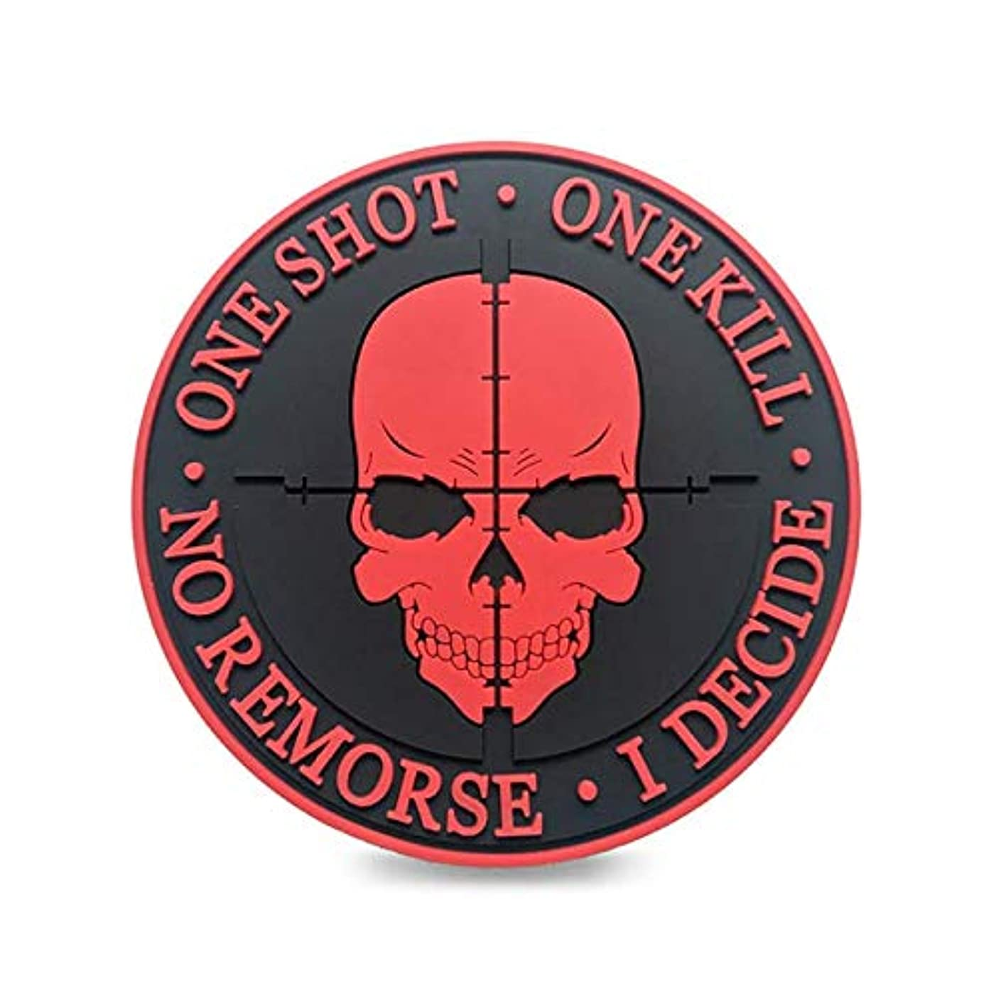 Morton Home Tactical PVC 3D Black Sniper One Shot One Kill No Remorse I Decide Morale Badge Patch (red)