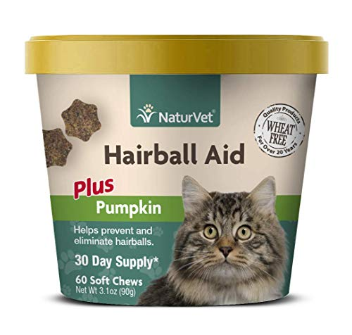 NaturVet – Hairball Aid Supplement for Cats - Plus Pumpkin – Helps Eliminate & Prevent Hairballs – 60 Soft Chews
