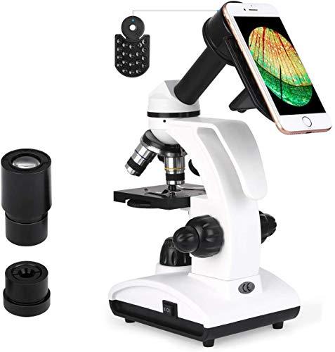 TELMU Mikroskop LED-Licht 40X-1000X Vergrößerung Optik Glas mit Smartphonehalter für Kinder, Schüler und Erwachsene