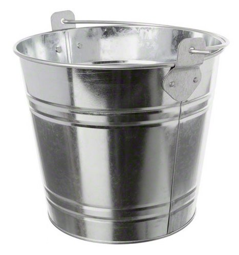 American Metalcraft PTUB87 Natural Galvanized Steel Pail with Handle, 1.16-Gallon, 8