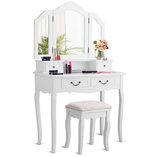 CHARMAID Vanity Set with Tri-Folding Mirror and 4 Drawers, Makeup Dressing Table with Cushioned Stool, Makeup Vanity Set for Women Girls Bedroom, Makeup Table and Stool Set (White)