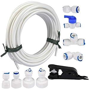 FOCCTS - Tubo de suministro de agua y conectores para nevera de 15 metros para refrigerador doble de estilo europeo (tubo de 1/4 de pulgada)