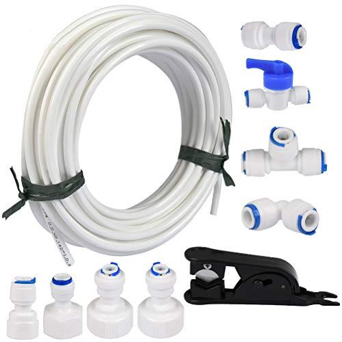 FOCCTS 15m Wasserzulaufleitung Universal Anschluss-Set für Kühlschrank Side by Side. Kühlschrankschlauch, Wasserschlauch Schlauchverbinder(1/4