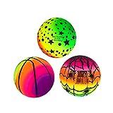 BESPORTBLE Balles Arc-en-Ciel 3 Pcs 16 Cm Élastique Écologique Ballon de Plage en PVC Inflation Couleur Vive Enfants Jouet Balles Flottantes pour Intérieur Extérieur(sans Tube Gonflable)