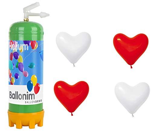 Ballonim Einweg Ballongas Helium Flasche mit 30 rote Herzen Ø 30cm, 0,22m³ (rot und weiß)