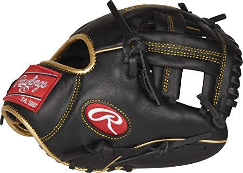 Rawlings Jungen R9TRBG-3/0 Baseball-Handschuh, 24,1 cm – Schwarz/Gold, 9.5 inch
