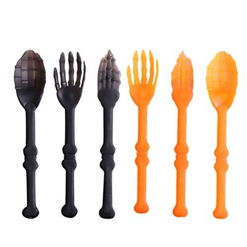 Cabilock 2 Sets 6 Stück Halloween Skelett Geschirr Skelett Arme Utensilien Salat Zange Gabel Löffel für Zuhause Restaurant