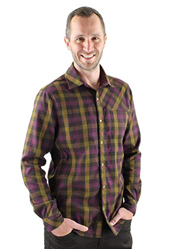 Club Ride Apparel Shaka Flannel Long Sleeve - Men's Snap Down Cycling Top - Burnt Cayenne Plaid - Large