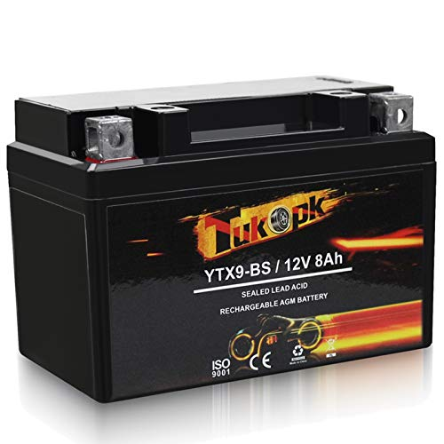 YTX9-BS Motorcycle Battery 12V 8AH, 130CCA Maintenance Free For ATV AGM Battery, Compatible with Honda Yamaha Suzuki YTX9 ETX9 BS Battery - Tukopk