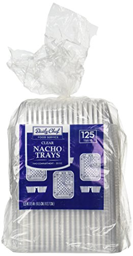 Disposable Clear Plastic Nacho Trays - 20oz, 125-Count