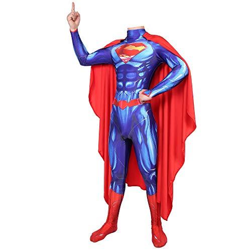 TOYSSKYR Disfraz de superhroe de Halloween de pelcula clsica de Superman, cuerpo de acero, azul, Navidad, juego de rol, lycra, para adultos, nios, hombre y mujer (color: sin capa, talla: XL)