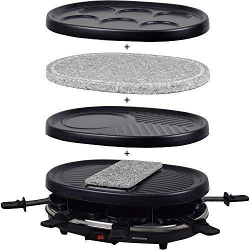 Syntrox Germany Raclette Jura mit Grill und Heißer Stein für 8 Personen mit 3 großen Platten Pancake, Naturstein, Grill