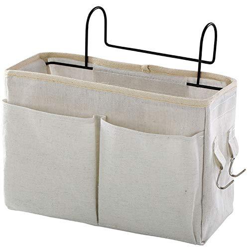 Naisde Bolsa De Almacenamiento Colgante De La Cama Caddy Pocket Nightstand Organizer Cesta Blanco para Literas Habitaciones De Dormitorio (Bolsa De Almacenamiento Colgante De La Cama)