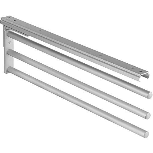 Gedotec Handtuchhalter ausziehbar Bad & Küchen-Schrank Handtuchauszug schwenkbar 90° - H6008 | silber eloxiert | Geschirrtuchhalter 3-armig | Länge 465 mm | MADE IN GERMANY | 1 Stück - Handtuchreling