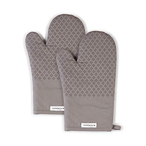KitchenAid Asteroid Cotton Oven Mitts with Silicone Grip, Set of 2, Grey, 2 Count