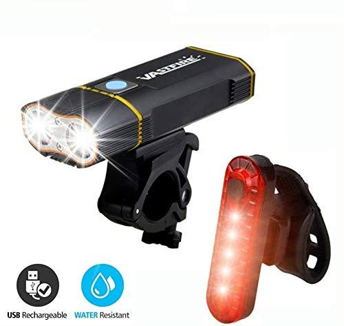 CPZ Fahrradlicht, 6000 Lumen, wiederaufladbares USB-Rücklicht für Fahrradscheinwerfer, IPX6 wasserdicht, Fahrradscheinwerfer XM-L2, eingebauter 6000-mAh-Akku