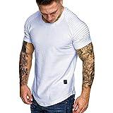 Wancooy❤️ Camisa casual de manga corta para hombre de color sólido, cuello redondo plisado de manga corta Blanco blanco L