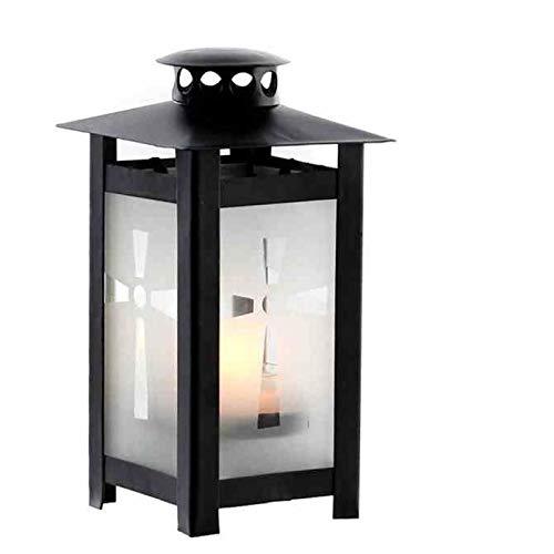 Trauer-Shop Grablaterne schwarz mit Heber und Kerze. Höhe 17 cm. 1 Stück inklusive Kerze