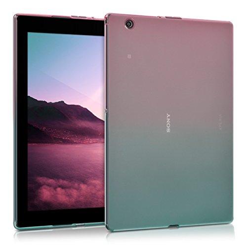 kwmobile Hülle kompatibel mit Sony Xperia Tablet Z4 - Silikon Tablet Cover Hülle Schutzhülle - Zwei Farben Pink Blau Transparent