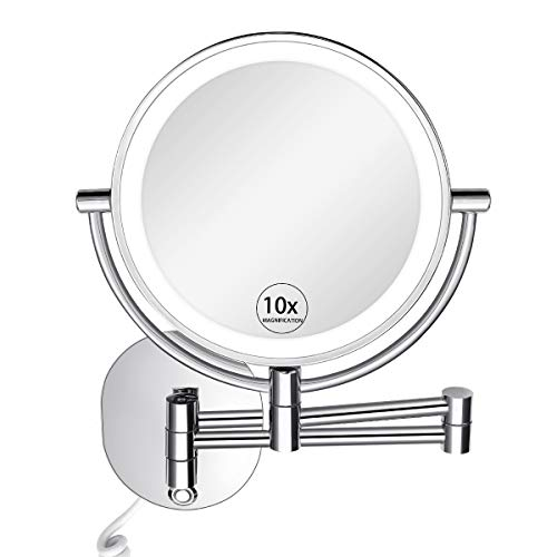KEDSUM 8-Inch 1X/10X Wall Mounted Magnifying Makeup Mirror with Lights, 3 Color Modes Lighted Vanity Mirror with Magnification, Double Sided Swivel Mirror for Bathroom, Touch Button Adjustable Light