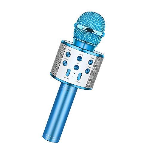 Wireless Bluetooth Karaoke Microphone,Rechargeable Kids Microphone Karaoke Machine,Professional Handheld Karaoke Mic Speaker Home KTV Kids Birthday Party - Best Gifts for Kids Adults (Blue)
