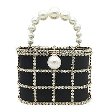 Synthetic Pearl Top-Handle Women Metal Bucket Bag Crystal Evening Purses and Clutches Formal Wedding Handbags  Black
