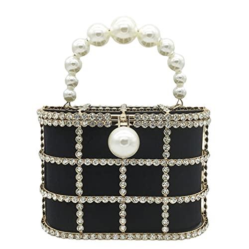 Synthetic Pearl Top-Handle Women Metal Bucket Bag Crystal Evening Purses and Clutches Formal Wedding Handbags (Black)