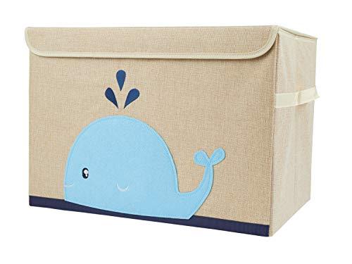 Bieco Aufbewahrungsbox mit Deckel | Wal Motiv 65L faltbar | ca. 36x36x51cm | Spielzeugkiste mit Deckel | Aufbewahrungsbox Kinder | Kisten mit Deckel | Aufbewahrungsbox Groß | Wickeltisch Organizer