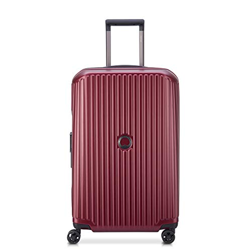 DELSEY Paris Securitime Expandable Luggage with Spinner Wheels, Maroon, Checked-Medium 25 Inch