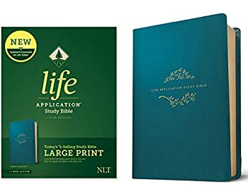 Tyndale NLT Life Application Study Bible Third Edition Large Print  LeatherLike Teal Blue Red Letter  – New Living Translation Bible Large Print Study Bible for Enhanced Readability