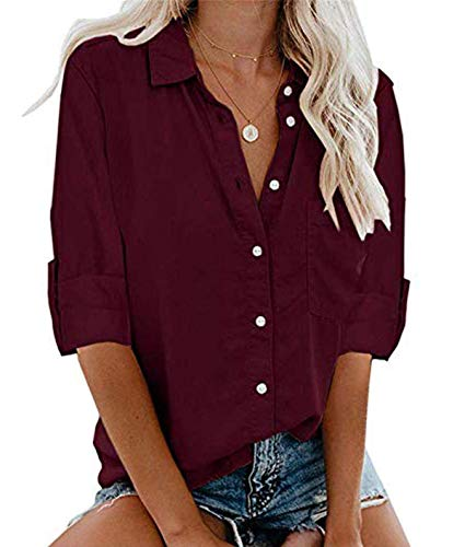 MallFancy Damen Bluse Langarm Reverskragen Shirt Hemdbluse Einfarbig Knopfleiste Blusen Oberteile Tops mit Taschen(Weinrot,M)