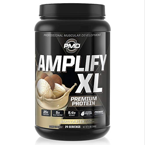 PMD Sports Amplify XL Premium Whey Protein Supplement Hydro Greens Blend - Glutamine and Whey Protein Matrix with Superfood for Muscle, Strength and Recovery - Vanilla Flex (24 Servings)