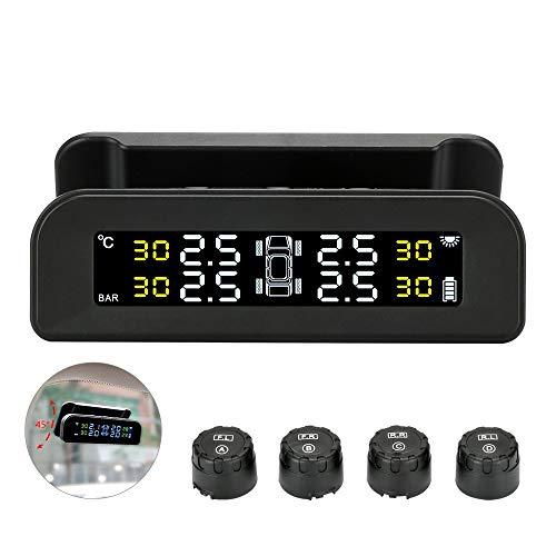 Jansite TPMS Sistema di monitoraggio della Pressione dei Pneumatici di Sicurezza vocale, Sistema di Allarme Automatico, Controllo della Pressione dei Pneumatici con Display LCD, Ricarica Solare e USB