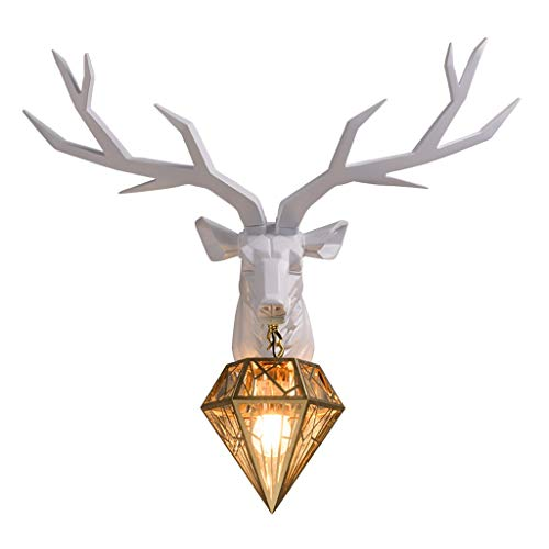 Deer Head Wall Hanging Modern Antler Pendant Wall Decoration Deer Head Wall-mounted Geometric Antlers Wall Mount Fake Animal Head Statue Hotel (Color : White, Size : 63 * 54 * 16cm)