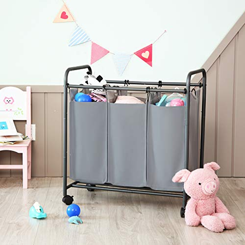 SONGMICS Rolling Laundry Sorter, Laundry Basket with 3 Removable Bags, Laundry Trolley, Toy Organiser on Wheels, Sturdy…